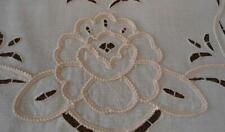 "Vintage Table Runner Padded Twist Rope Embroidery Cutwork Floral Ecru 52"""
