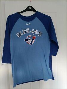 TORONTO BLUE JAYS LONG SLEEVED BASEBALL  T-SHIRT LARGE SIZE 44 INCH NIKE MAKE