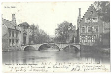 Bruges Beguinage Bridge PPC, Norwich 21 1902 PMK to Beccles, Undivided Back