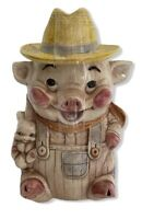 Vintage Farmer Pig in Overalls Cookie Jar Treasure Craft Made in USA 1960s