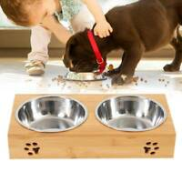Dog Food large Feeding Stand Station Stainless Double Raised Bowls Bamboo Crate