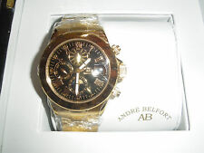 BNWT Mens Gold/Black ANDRE' BELFONT Le Capitaine KENDOR VAN NOAH sealed Watch