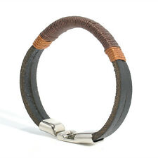 Cool Surfer Mens Vintage Hemp Wrap Leather Wristband Bracelet Cuff Black Brown