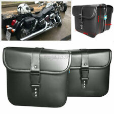 Black PU Leather Side Saddle Bag Fit Kawasaki VN 900 1500 1600 1700 2000 Classic