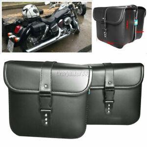 Black PU Leather Side Saddle Bag Fit Honda Shadow Spirit VT700 VT750 VT1100 VLX