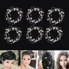 Aesthetic White Studded Wedding Bridal Headpiece Tiara Headdress 130cm