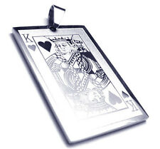 Collier Carte Roi de Coeur Acier Steel Pendant King of Heart Card Poker Casino