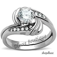 1.25 Ct Round Cut AAA CZ Stainless Steel Wedding Ring Set Women's Size 5-10