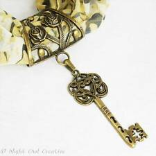 Scarf Ring Jewellery, Scarf Clip, Antique Bronze Heart Key Pendant, FREE pouch