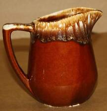 Vintage Pottery Brown Drip Pitcher Creamer Syrup