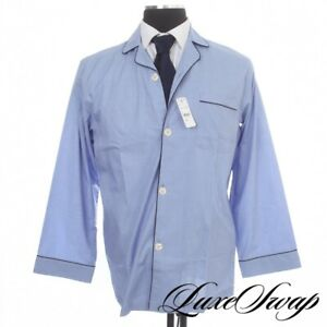 NWT Brooks Brothers Solid Chambray Blue End on End MOP Button 2PC Pajamas Set S