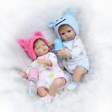 17'' A Pair Reborn Twins Darling Doll Blue Soft Vinyl Silicone Boy Girl Pink