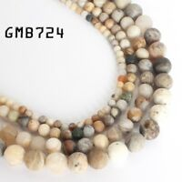 """Natural Matte Bamboo Agate Loose Round Beads for Jewelry Making 6/8/10mm 15"""""""