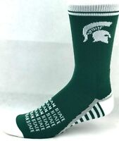 Michigan State Spartans NCAA Crew Socks Green White Gray