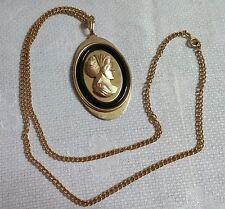 "Vintage Avon Goldtone Metal Oval Cameo Pendant 24"" Necklace"