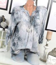 BLUSE Tunika VINTAGE Spitze PAILLETTEN Batik Grau OVERSIZE Shirt STERNE 36 38 40