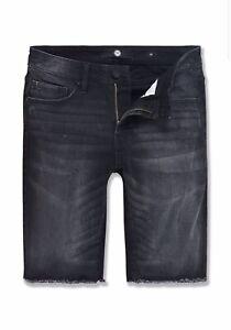 Jordan craig BLACK SHADOW shorts with distressing on each side