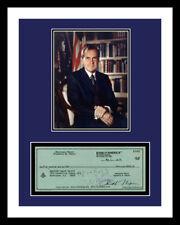 RICHARD NIXON *SIGNED BANK CHECK* & PHOTO PRINT DISPLAY