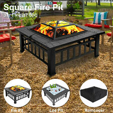 More details for outdoor fire pit bbq firepit brazier garden square table stove patio heater uk