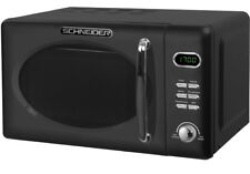 Micro-ondes Retro Schneider Mw720 exemple Noir Chrome 700watt 20l Nostalgie Mat