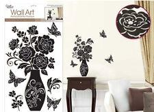 ELEGANT ILLUSIONS wall stickers w/Glitter & Gems VASE flowers 6 big decals decor