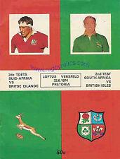 BRITISH LIONS 1974  2nd TEST v SOUTH AFRICA 22 Jun Pretoria RUGBY PROGRAMME