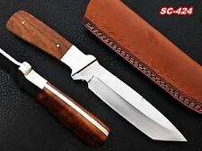 100% Handmade Steel D-2 Knife with Rose Wood and Steel Bolster Handle