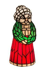 "Meyda Lighting 10""H Mrs. Claus Tiffany Accent Lamp Red Skirt Green Shawl"