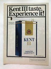 Kent III Cigarettes Vintage 1980 Print Ad