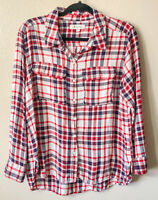 Two by Vince Camuto Women's Large Brushed Flannel Plaid Red Blue Ivory Button Up