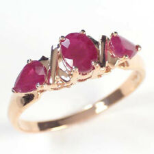 14k Rose Gold Three Stone Ruby Mother's ring #R412