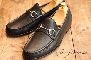 Gucci Black Leather Horse Bit Loafers Shoes Men's UK 7.5 US 8.5