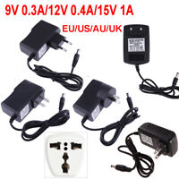 5/9/12/15V 0.3/0.4/1A AC to DC Power Supply Adapter Converter Center Transformer