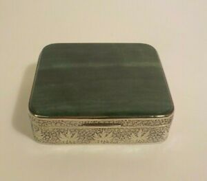 Continental Engraved Silver Table Box, Malachite Stone Inlaid Top