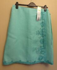 Marks & Spencer UK12 EU40 US8 new light aqua pure linen wrap embellished skirt