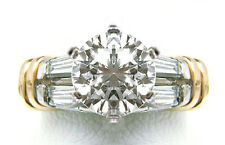 NEW $7000 1.05cttw SI1 I Kasper and Esh Designer 2 Tone W/Y Gold Engagement Ring