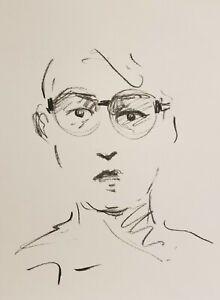 JOSE TRUJILLO Original Charcoal - Paper Sketch Drawing 9X12 PORTRAIT EYE GLASSES