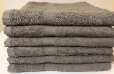 6 PIECE NEW GRAY BATH TOWEL DOBBY BORDER STYLE RINGSPUN 100%COTTON