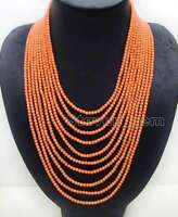 3mm Round Pink Natural Coral Necklace for Women 10 Strands 18-27'' Jewelry n6093