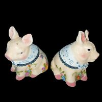 """Floral Piggy Set Of Salt And Pepper Shakers 3.5""""T"""