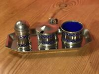 Vintage EPNS Silver Plated Condiment Set with Blue  Bakelite Liners and Tray