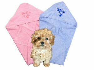 Personalised Puppy Dog Towel With Hood 75cm x75cm Super Absorbent Great Gift