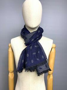 "BOGGI Milano Gray Blue Neck Scarf Shawl Wool Modal Mix Men's (Unisex) 17"" x 64"""
