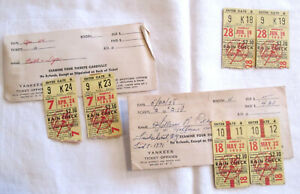 Lot Vintage New York Yankees 1955 Rain Check Ticket Stubs