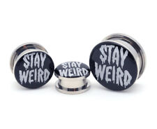 Pair of Screw on Stay Weird Picture Plugs gauges 16g thru 1 inch