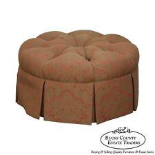Custom Upholstered Round Tufted Ottoman