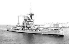 ROYAL NAVY IRON DUKE CLASS BATTLESHIP HMS BENBOW ENTERING MALTA