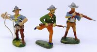 Vintage Elastolin Composite Cowboys 70mm. Post 1940 Toy Soldiers Made in Germany
