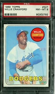 1969 Topps #327 Willie Crawford PSA 8 NM-MT