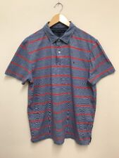 Tommy Hilfiger Mens Blue White Red Stripe Polo Shirt Size L Large